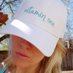 eedc390ad Vitamin Sea White Baseball Cap Beach Cute Sun Hat NWT
